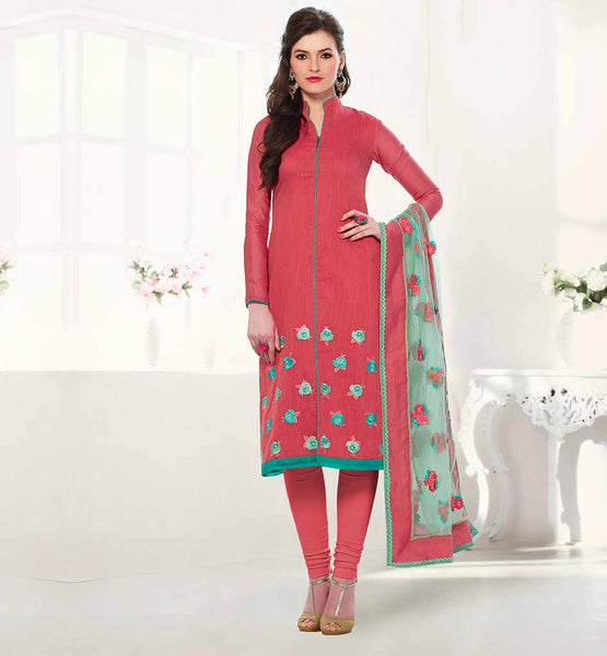 STYLISH CORPORATE WEAR SALWAR KAMEEZ DESIGNS PINK COLOR FLORAL EMBROIDERY BANARASI CHANDERI SUIT