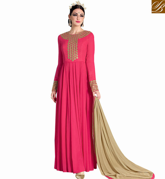 FABULOUS PINK GEORGETTE DESIGNER DRESS WITH PRINTED SANTOON BOTTOM AND BEIGE CHIFFON DUPATTA WITH SLIT CUT NKNRA1013A