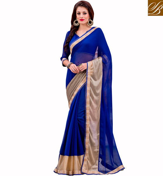 BROUGHT TO YOU BY STYLISH BAZAAR CAPTIVATING BLUE DESIGNER SARI AND BLOUSE DESIGN VDMIZ1013