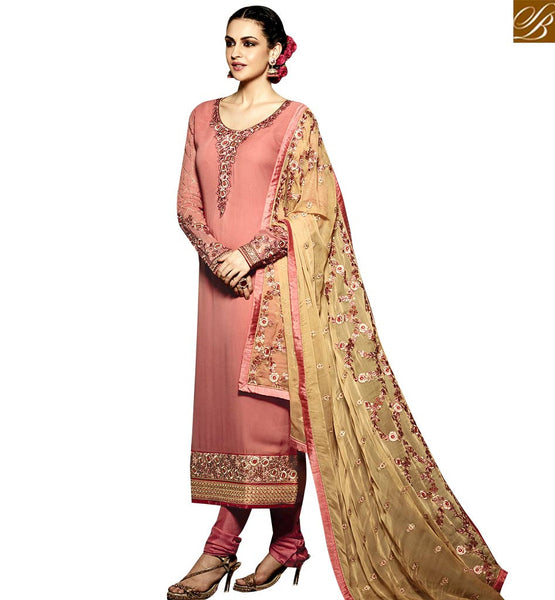 STYLISH BAZAAR TRENDY PEACH AND BEIGE COLORED DESIGNER SUIT WITH EYE CATCHING EMBROIDERY WORK RTMNK1013