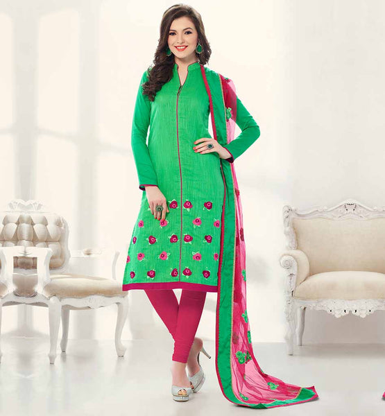 EXCITING OFFICE WEAR SALWAR KAMEEZ PATTERNS COOL GREEN AND PINK BANARASI CHANDERI KAMEEZ WITH FLOWER PATTERN EMBROIDERY