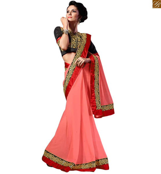 STYLISH BAZAAR ATTRACTIVE PINK SARI WITH A BLACK BLOUSE RTREX1014