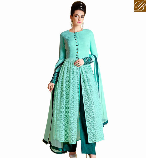 STYLISH BAZAAR MAGNIFICENT SKY BLUE NET DESIGNER SALWAR KAMEEZ WITH GREY SANTOON BOTTOM NKNRA1014B