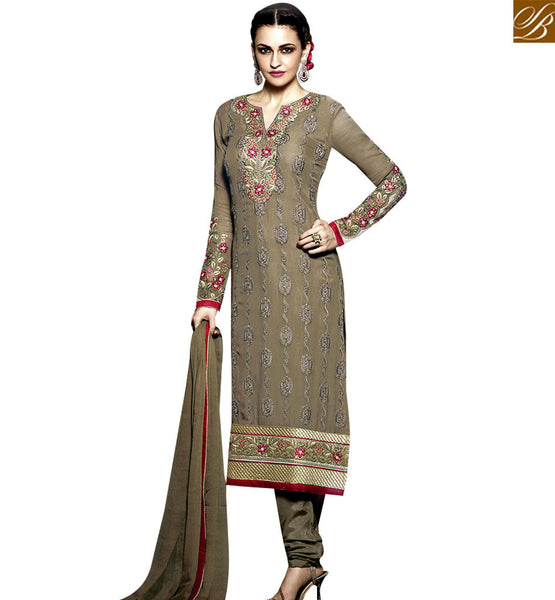 STYLISH BAZAAR GLAMOROUS BROWN COLORED DESIGNER SALWAR KAMEEZ WITH BEAUTIFUL EMBROIDERY WORK RTMNK1014
