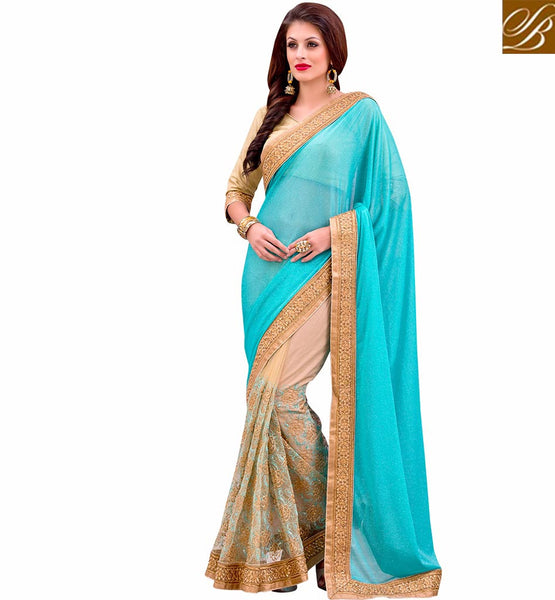 STYLISH BAZAAR ENCHANTING BLUE AND CREAM HALF AND HALF SARIS VDMIZ1014
