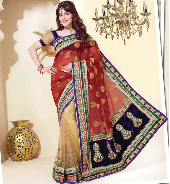 MAROON & CREAM SAREE RTCHN1014 STYLISHBAZAAR WOMENS ONLINE SHOPPING WEBSITE