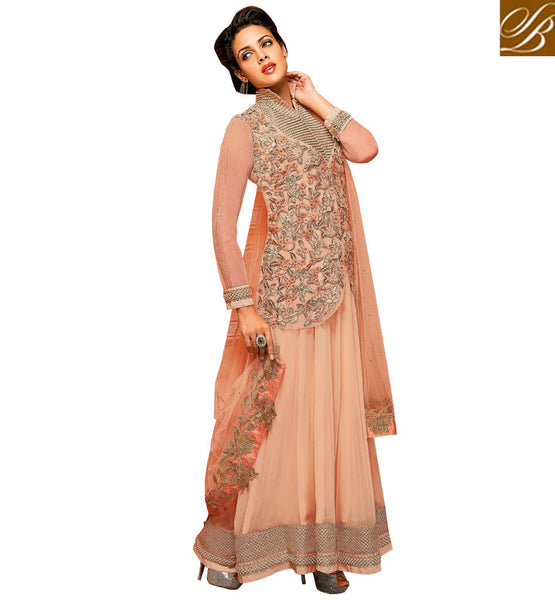 FLAMBOYANT JACKET PATTERN GOWN STYLE ANARKALI SALWAR KAMEEZ DRESS