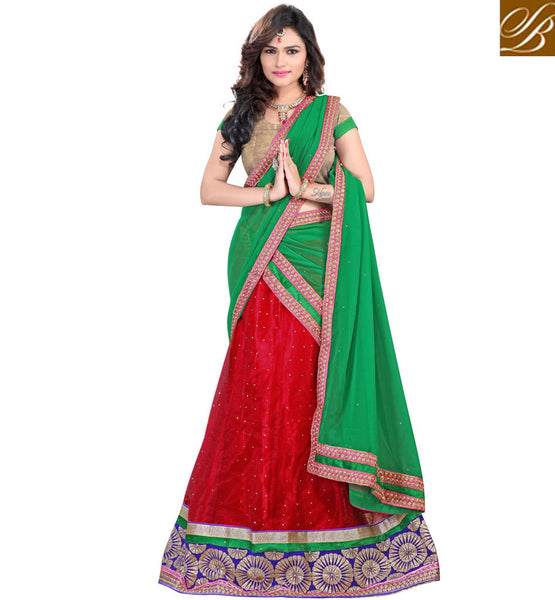 LEHENGA CHOLI BLOUSE DESIGNS  SUITABLE TO WEAR IN ANY FUNCTION MAROON NET LEHENGA WITH CREAM JACQUARD CHOLI AND GREEN CHIFFON HALF-SAREE