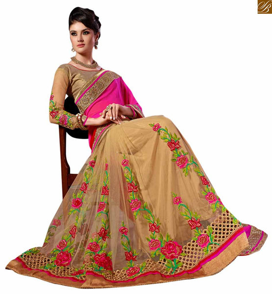 BROUGHT TO YOU BY STYLISH BAZAAR EXQUISITE PINK RED AND CREAM SAREE COUPLED WITH A CREAM BLOUSE RTREX1015
