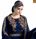 A STYLISH BAZAAR PRESENTATION ELEGANT NAVY BLUE GEORGETTE HEAVY EMBROIDERED SALWAR KAMEEZ WITH GOWN STYLE NKNRA1015A