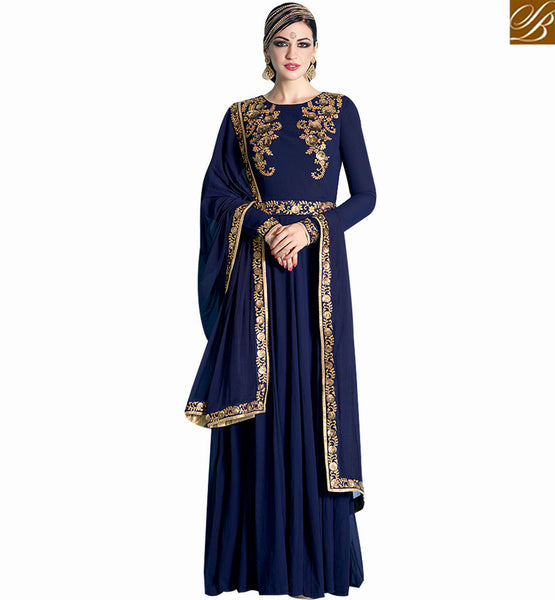 STYLISH BAZAAR ELEGANT NAVY BLUE GEORGETTE HEAVY EMBROIDERED SALWAR KAMEEZ WITH GOWN STYLE NKNRA1015A