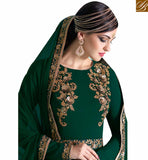 BROUGHT TO YOU BY STYLISH BAZAAR ELEGANT GREEN GEORGETTE HEAVY EMBROIDERED SALWAR KAMEEZ WITH GOWN STYLE NKNRA1015B