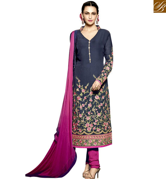 STYLISH BAZAAR DAZZLING NAVY BLUE AND PINK COLORED DESIGNER SALWAR KAMEEZ WITH FLORAL EMBROIDERED WORK RTMNK1015