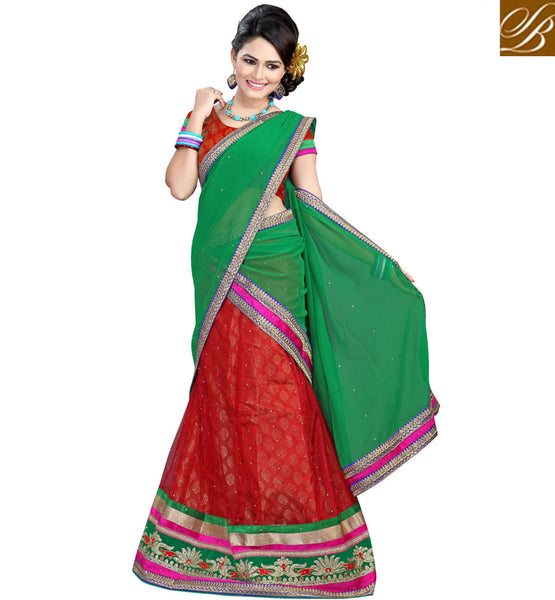 LENGHA CHOLI FASHION DRESS DESIGNER INDIAN OUTFITS FOR MOD LADIES MAROON NET LEHENGA WITH JACQUARD CHOLI AND GREEN CHIFFON HALF-SAREE