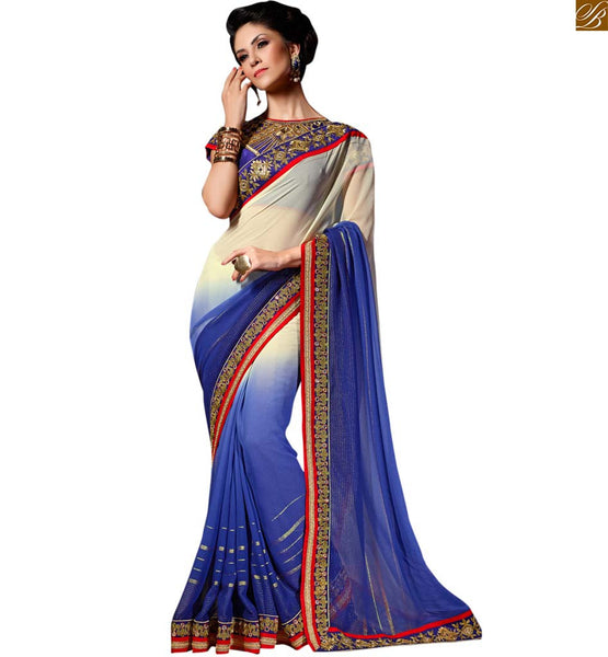 STYLISH BAZAAR MESMERIC BLUE AND CREAM GEORGETTE SARI BLOUSE DESIGN RTREX1016