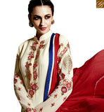 STYLISH BAZAAR INTRODUCES STUNNING CREAM AND RED COLORED DESIGNER SALWAR SUIT WITH GLITTERING WORK RTMNK1016