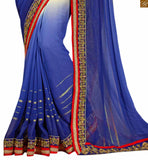 FROM THE HOUSE  OF STYLISH BAZAAR MESMERIC BLUE AND CREAM GEORGETTE SARI BLOUSE DESIGN RTREX1016
