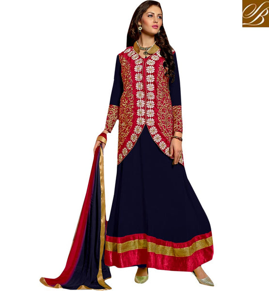 STYLISH BAZAAR CHARMING JACKET STYLE SALWAR SUIT DESIGN VDRNB10163