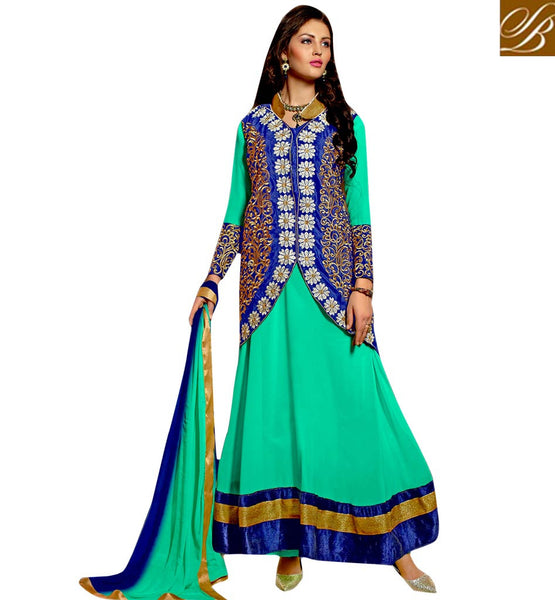 STYLISH BAZAAR ELEGANT DESIGNER LONG ANARKALI SALWAR KAMEEZ WITH JACKET VDRNB10167