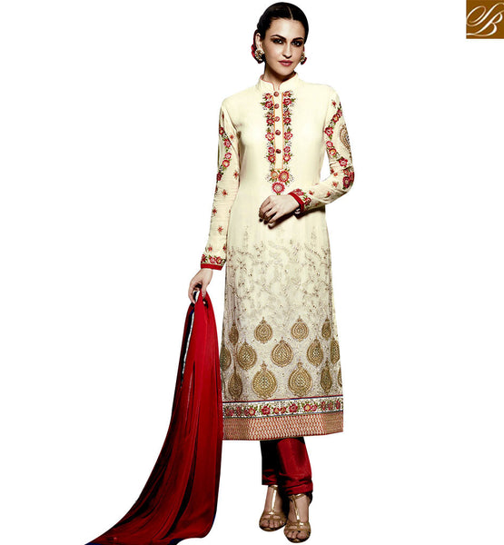 STYLISH BAZAAR STUNNING CREAM AND RED COLORED DESIGNER SALWAR SUIT WITH GLITTERING WORK RTMNK1016
