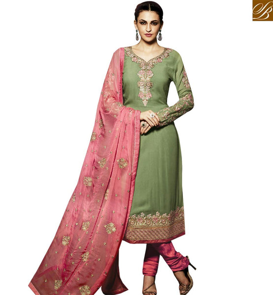 STYLISH BAZAAR FANTASTIC GREEN AND PINK COLORED DESIGNER SALWAR KAMEEZ RTMNK1017