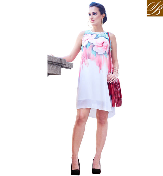 STYLISH BAZAAR GORGEOUS DESIGNER PARTY WEAR FLORAL PRINT KURTI VDSPL10180