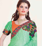 GREEN & ORANGE SAREE RTCHN1018 STYLISHBAZAAR WOMENS ONLINE SHOPPING WEBSITE