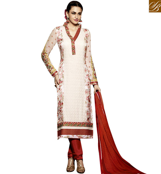 STYLISH BAZAAR STRIKING WHITE AND RED COLORED DESIGNER SALWAR SUIT RTMNK1018