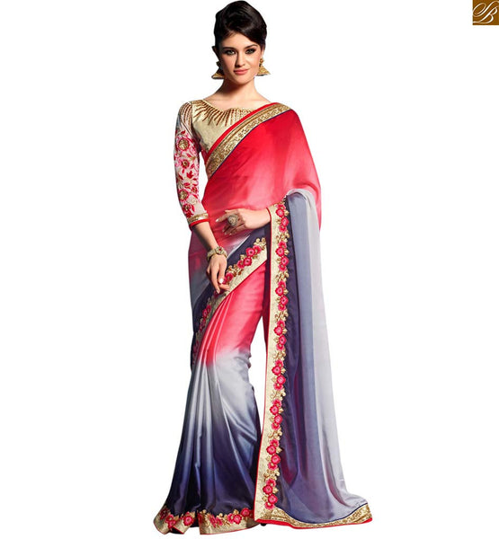 STYLISH BAZAAR CHARMING RED AND BLUE SARI PERFECTLY MATCHED WITH A CREAM BLOUSE RTREX1019