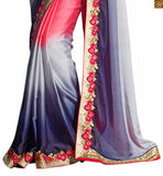 A STYLISH BAZAAR PRESENTATION CHARMING RED AND BLUE SARI PERFECTLY MATCHED WITH A CREAM BLOUSE RTREX1019