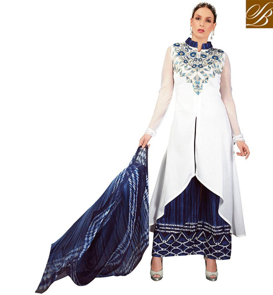 STYLISH BAZAAR DELIGHTFUL ONLINE DESIGNER PARTY WEAR PLAZZO KAMEEZ SUIT DESIGN VDRUH10196