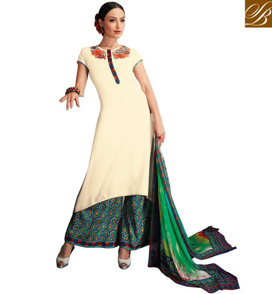 STYLISH BAZAAR ENTICING DESIGNER FESTIVAL PLAZZO PUNJABI DRESS SUIT VDRUH10199
