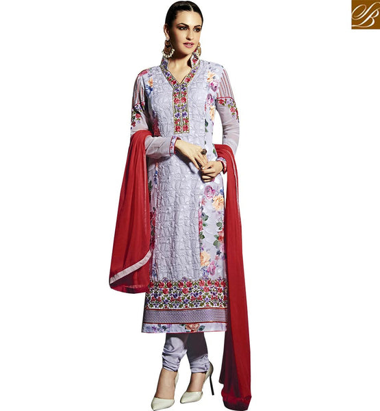 STYLISH BAZAAR BREATHTAKING VIOLET COLORED DESIGNER SUIT WITH ATTRACTIV EMBROIDERY WORK RTMNK1019