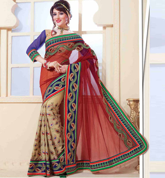 MAROON & CREAM SAREE RTCHN1019 STYLISHBAZAAR WOMENS ONLINE SHOPPING WEBSITE
