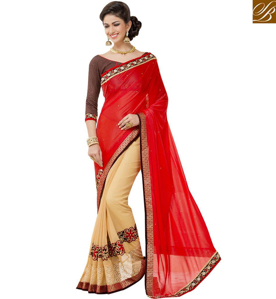 STYLISH BAZAAR GRACEFUL CREAM DESIGNER HALF N HALF SAREE WITH EMBROIDERED RTANT101