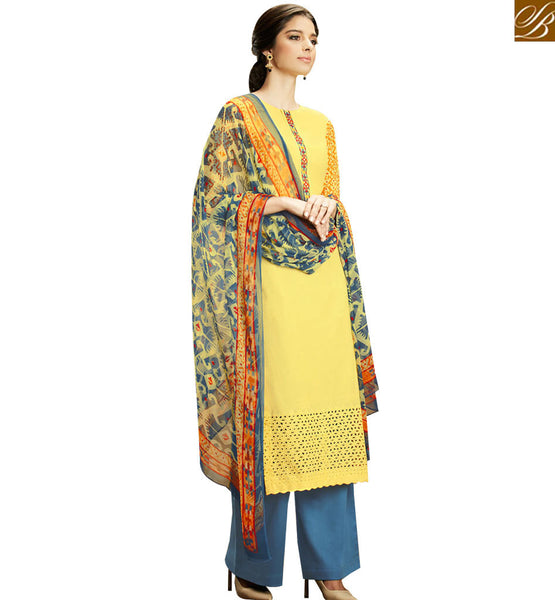 STYLISH BAZAAR BEAUTIFUL YELLOW COLOR COTTON PLAZZO SUIT WITH MULTI COLOR PRINTED DUPATTA KMV101
