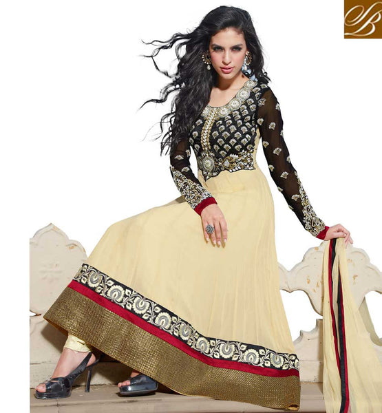 CLASSY CREAM COLOR HANDWORK GEORGETTE ANARKALI SALWAR KAMEEZ DRESS