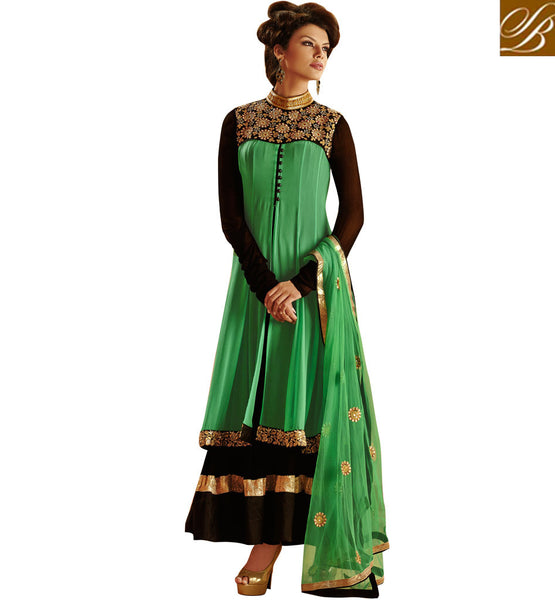 GORGEOUS GREEN GEORGETTE SALWAR KAMEEZ LTNS101 - STYLISHBAZAAR - DESIGNER GEORGETTE DRESSES - EYE-CATCHING SALWARSUITS - DESIGNER ANARKALI SALWAR KAMEEZ AND MUCH MORE