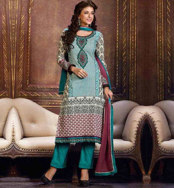 WOMEN PARTY WEAR CAMBRIC COTTON SALWAR KAMEEZ SUIT PIECE ONLINE