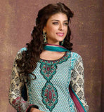 DESIGNER PARTY WEAR CAMBRIC COTTON SALWAR KAMEEZ WITH DUPATTA