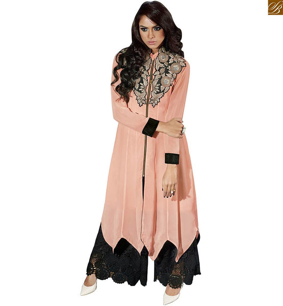 Kurti design embroidered collar and neckline current fashion dusty-pink faux-georgette long sleeve with border and front side zip chain giving it a sherwani style look Image