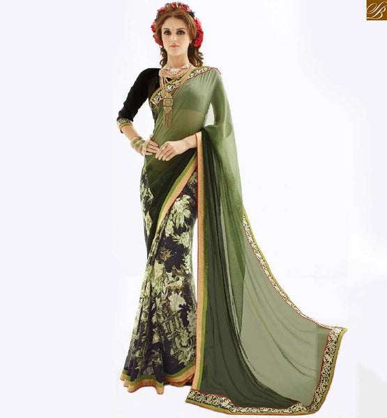 Half saree collections with designer blouse patterns of back neck green georgette printed new collection casual indian saree with black designer art silk blouse