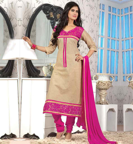 SALWAR-KAMEEZ-DESIGNS-ARTISTICALLY-CRAFTED--PAKISTANI-DESIGNER-DRESSES-ONLINE--OUTSTANDING-CREAM-JUTE-COTTON-TOP-WITH-PINK-BOTTOM-AND-REMARKABLE-CHIFFON-DUPATTA