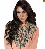 Dusty-pink faux-georgette long sleeve with border and front side zip chain giving it a sherwani style look photo