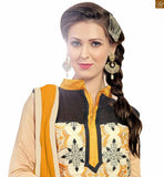 Chanderi cream colored casual salwar kameez cream chanderi high neck designer casual salwar kameez with patch work on neck. This salwar kameez are beautiful floral embroidery work photo