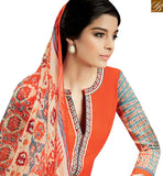 FROM THE HOUSE OF STYLISH BAZAAR CAPTIVATING ORANGE COLOR COTTON PLAZZO SALWAR KAMEEZ WITH MULTI COLOR PRINTED DUPATTA KMV102