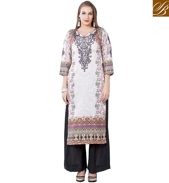 STYLISH BAZAARMESMERIC WHITE DESIGNER KURTI FOR WOMEN RTEMP1020