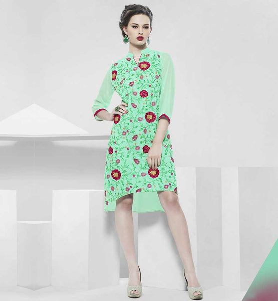 LATEST KURTIS WITH DIFFERENT TYPES OF NECK DESIGNS FOR GIRLS EMBROIDERED LIRIL GREEN PARTY WEAR GEORGETTE KURTI WITH SANTOON INNER