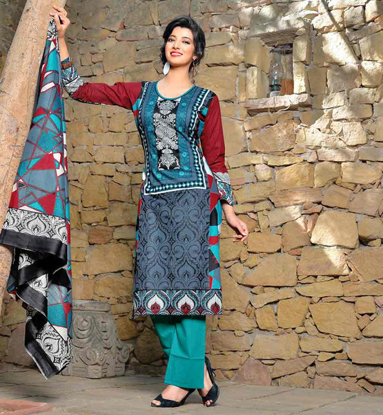 PAKISTAN CLOTHING FASHION WEAR OF SHALWAR KAMEEZ DESIGNS SUITS FOR WOMEN SUPERB COLOR COMBINATION GREY TOP WITH SEA-GREEN BOTTOM AND AWESOME ODHNI