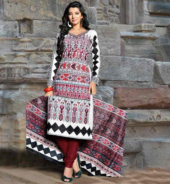 SHALWAR KAMEEZ DESIGNS AND STYLISH PATTERN OF ETHNIC SUITS FOR WOMEN OFF-WHITE COLOR COTTON SUIT WITH MAROON CONTRAST BOTTOM AND EYE-CATCHING DUPATTA